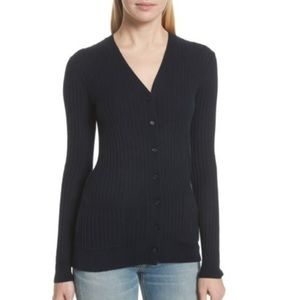 Vince Navy cashmere ribbed cardigan